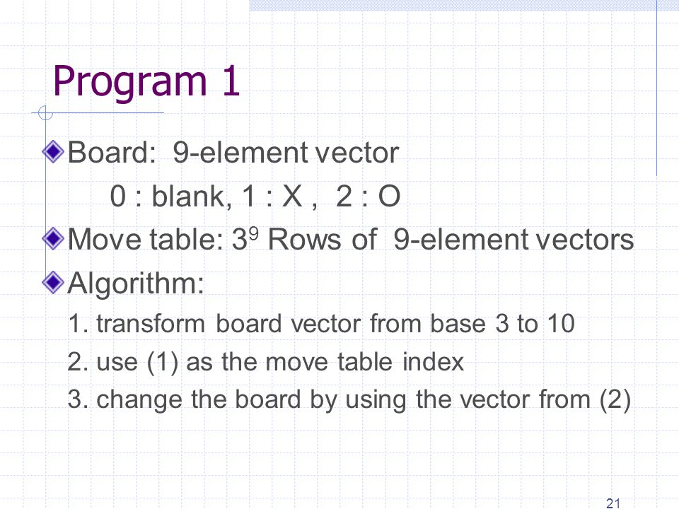 21 Program 1 Board: 9-element vector 0 : blank, 1 : X, 2 : O Move table: 3 9 Rows of 9-element vectors Algorithm: 1.