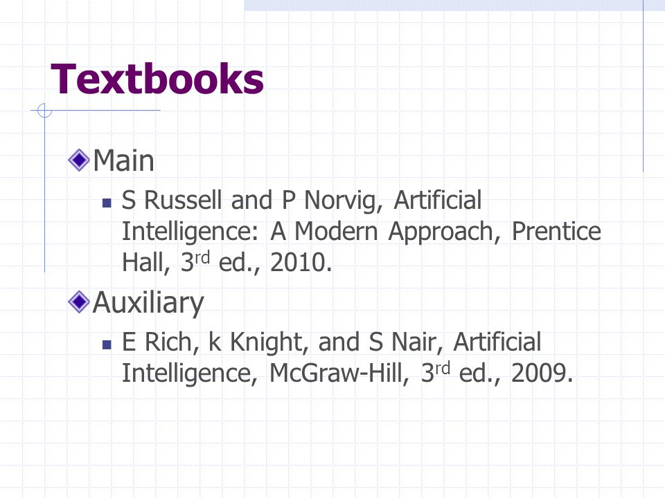Textbooks Main S Russell and P Norvig, Artificial Intelligence: A Modern Approach, Prentice Hall, 3 rd ed., 2010.