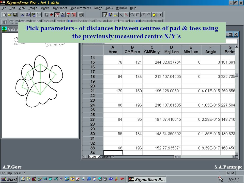 Pick parameters - of distances between centres of pad & toes using the previously measured centre X/Y s A.P.GoreS.A.Paranjpe