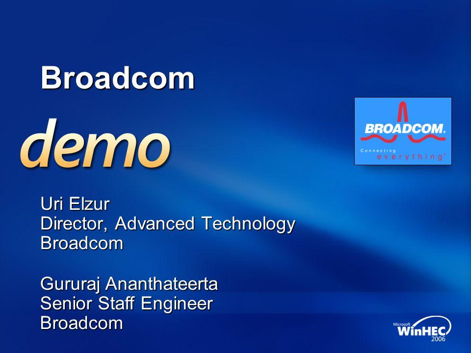 Broadcom Uri Elzur Director, Advanced Technology Broadcom Gururaj Ananthateerta Senior Staff Engineer Broadcom