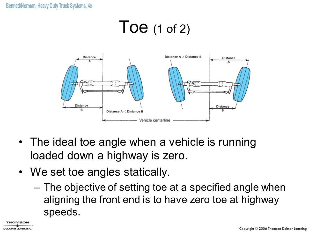 Toe (2 of 2) Incorrect toe angles not only accelerate tire wear but also can have an adverse effect on directional stability of the vehicle.