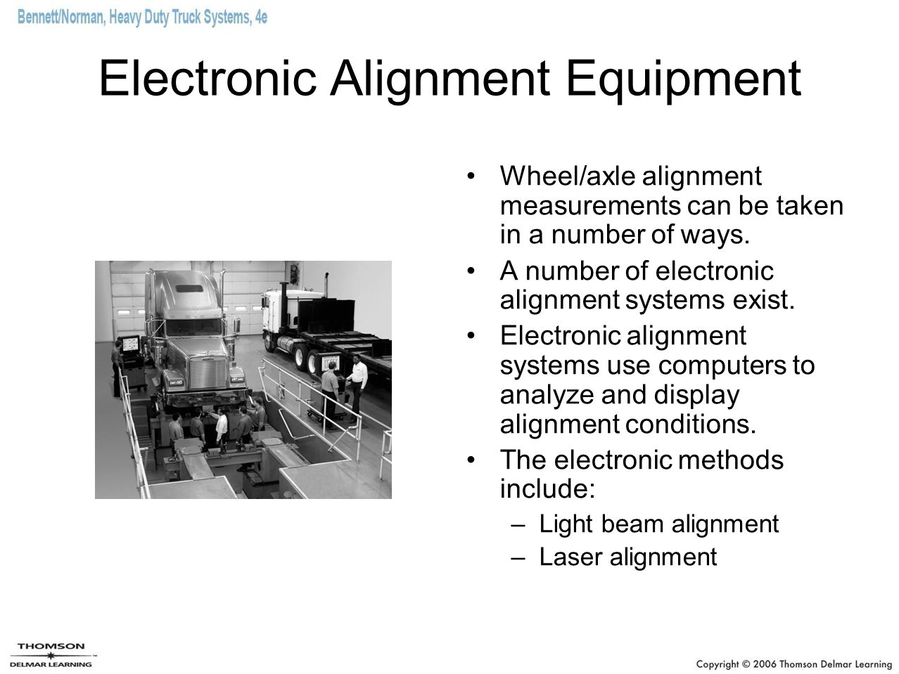 Beam Alignment Systems Laser beam equipment projects light beams onto charts, scales, and sensors to measure toe, caster, and camber.