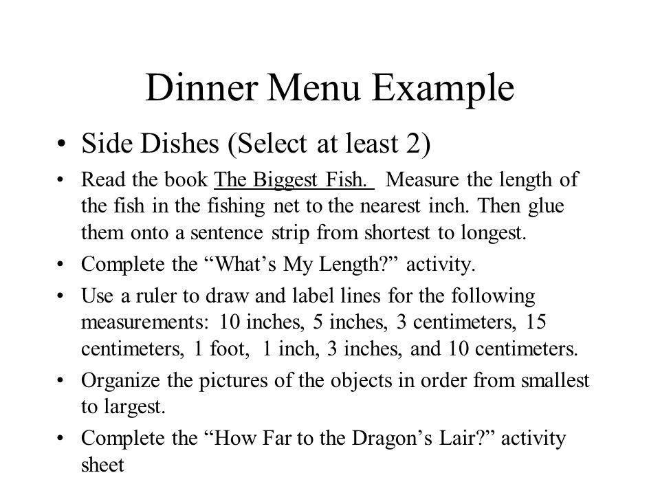 Dinner Menu Example Dessert (Optional- Select 1) Draw a map.
