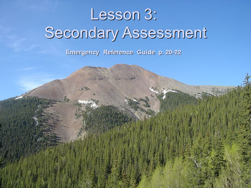 Lesson 3: Secondary Assessment Emergency Reference Guide p. 20-22