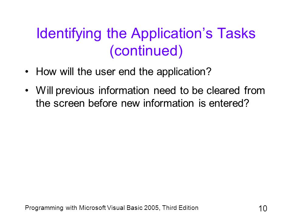 10 Programming with Microsoft Visual Basic 2005, Third Edition Identifying the Application's Tasks (continued) How will the user end the application?
