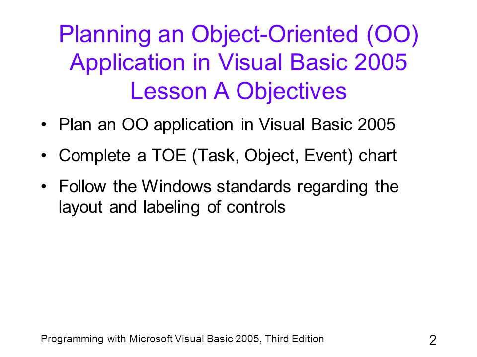 2 Programming with Microsoft Visual Basic 2005, Third Edition Planning an Object-Oriented (OO) Application in Visual Basic 2005 Lesson A Objectives Pl