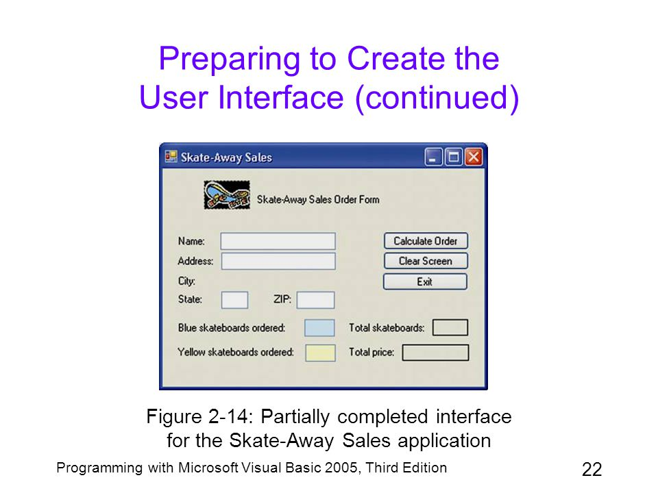22 Programming with Microsoft Visual Basic 2005, Third Edition Preparing to Create the User Interface (continued) Figure 2-14: Partially completed int