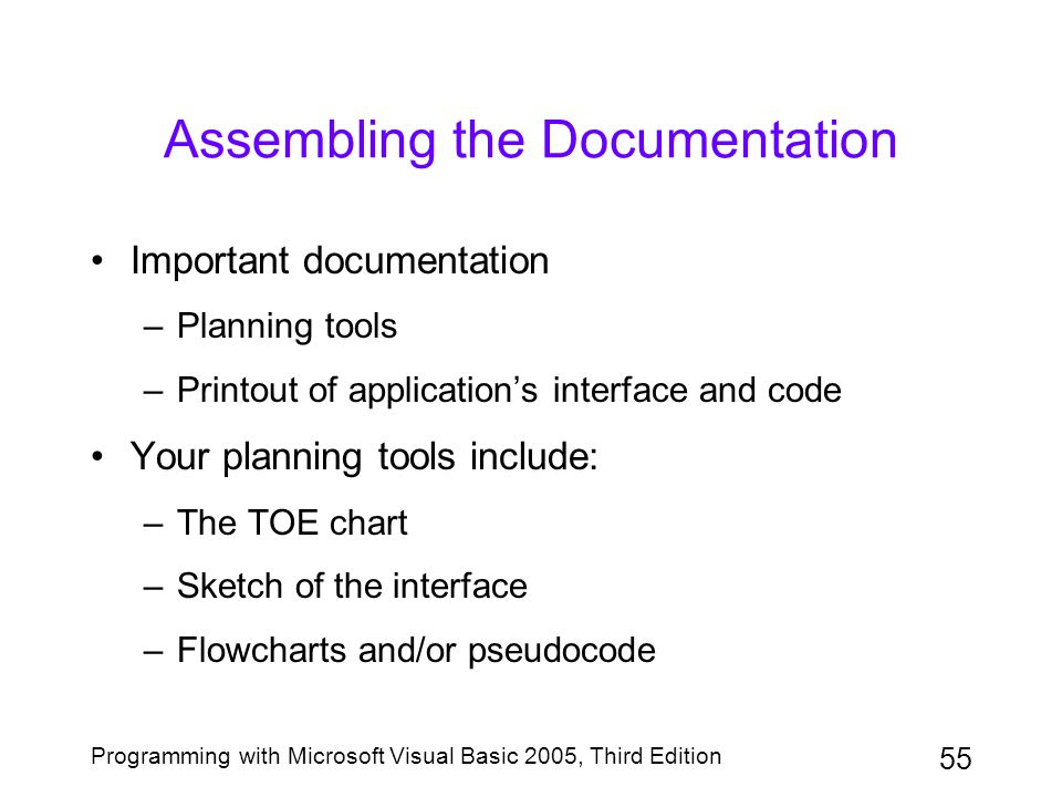 55 Programming with Microsoft Visual Basic 2005, Third Edition Assembling the Documentation Important documentation –Planning tools –Printout of appli