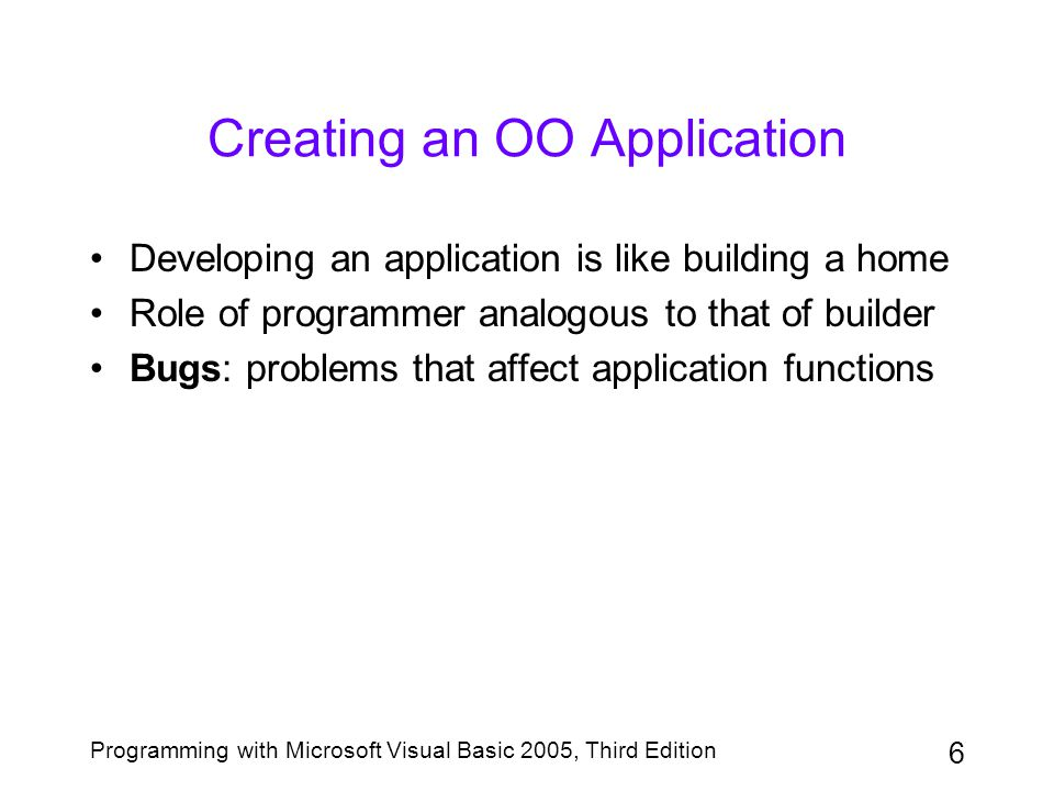 6 Programming with Microsoft Visual Basic 2005, Third Edition Creating an OO Application Developing an application is like building a home Role of pro