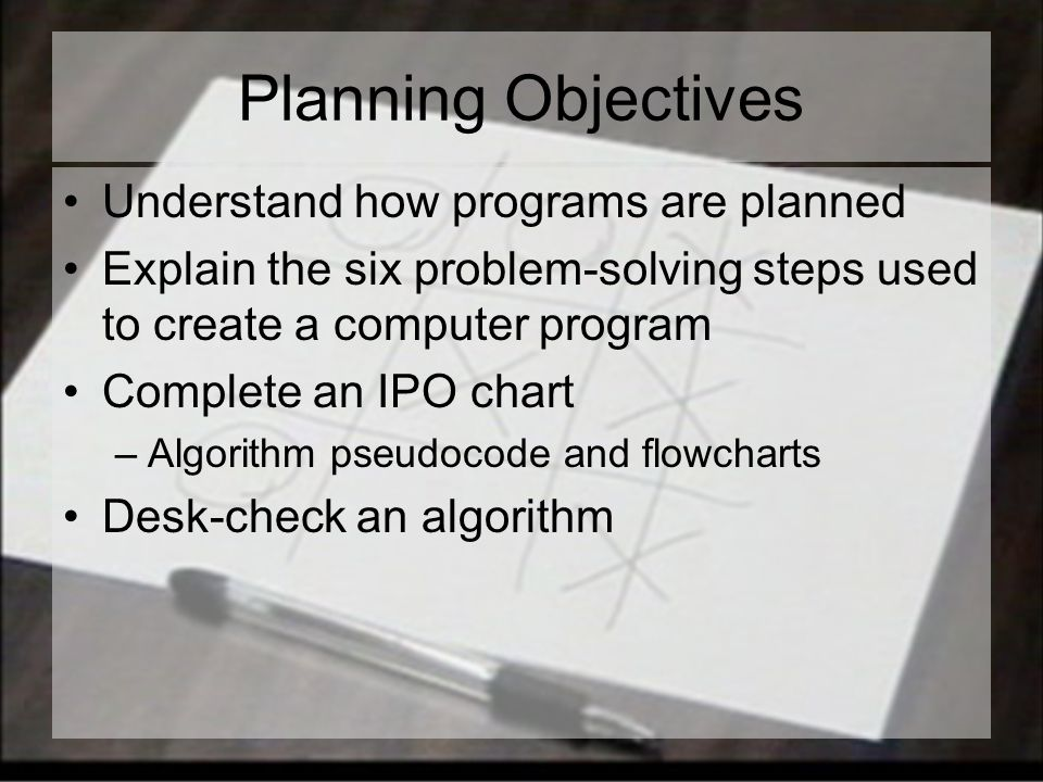 Planning Objectives Understand how programs are planned Explain the six problem-solving steps used to create a computer program Complete an IPO chart –Algorithm pseudocode and flowcharts Desk-check an algorithm