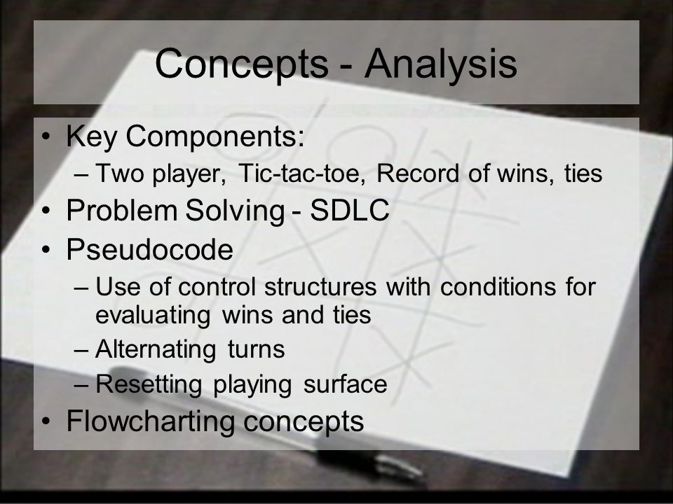 Concepts - Analysis Key Components: –Two player, Tic-tac-toe, Record of wins, ties Problem Solving - SDLC Pseudocode –Use of control structures with conditions for evaluating wins and ties –Alternating turns –Resetting playing surface Flowcharting concepts