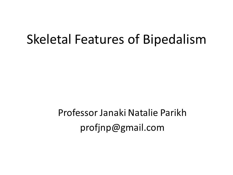 Skeletal Features of Bipedalism Professor Janaki Natalie Parikh profjnp@gmail.com