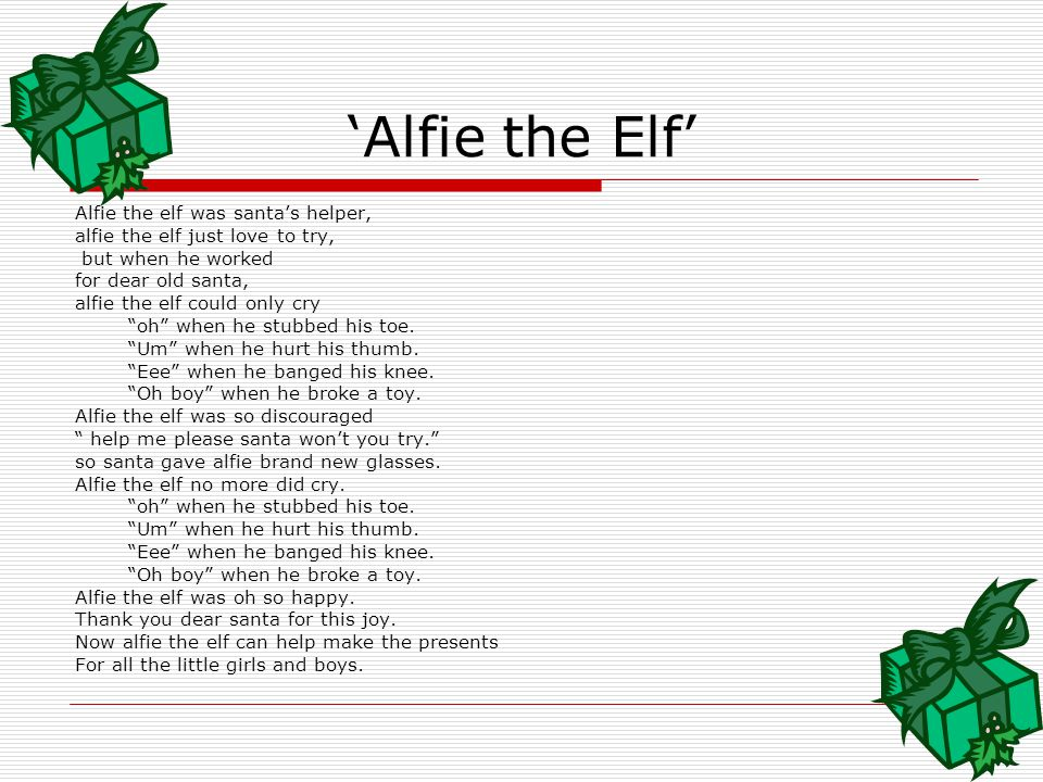 Vocabulary Words  Elf- One of Santa's Helper's  Santa's Workshop- Where the elves make the toys for all the girls and boys.  Discouraged- This is a