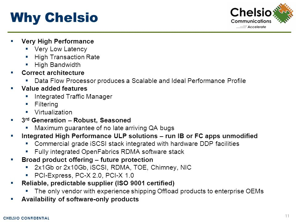 CHELSIO CONFIDENTIAL 11 Why Chelsio  Very High Performance  Very Low Latency  High Transaction Rate  High Bandwidth  Correct architecture  Data