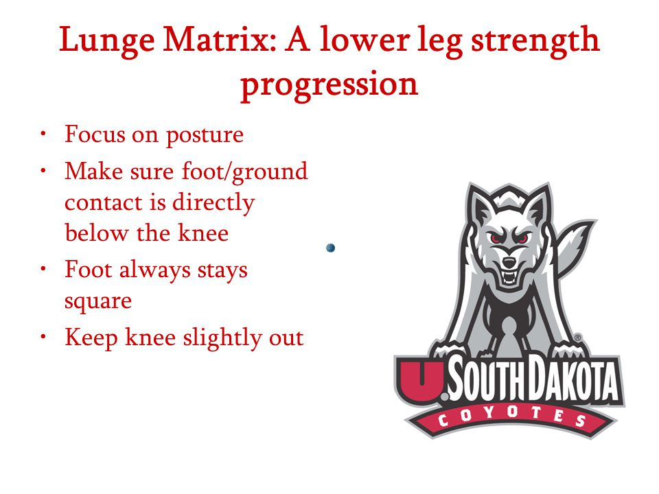 Lunge Matrix: A lower leg strength progression Focus on posture Make sure foot/ground contact is directly below the knee Foot always stays square Keep knee slightly out