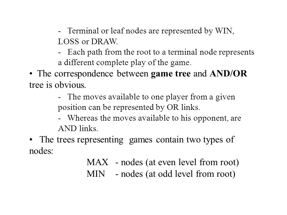 The leaf nodes are leveled WIN, LOSS or DRAW depending on whether they represent a win, loss or draw position from MAX s view point.