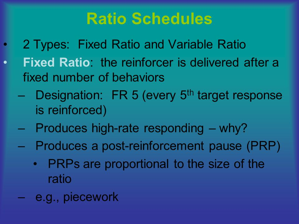 Fixed-Ratio Schedule of Reinforcement S R+ delivered PRP