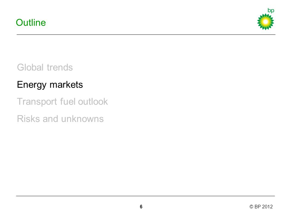 © BP 2012 Outline Global trends Energy markets Transport fuel outlook Risks and unknowns 6