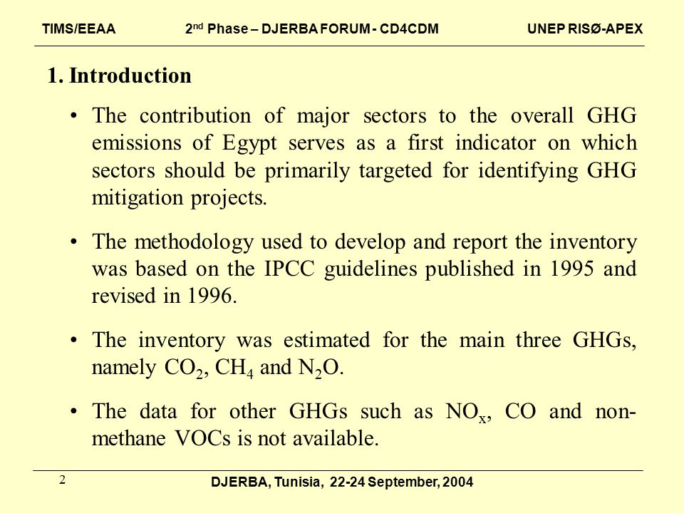 2 1.Introduction The contribution of major sectors to the overall GHG emissions of Egypt serves as a first indicator on which sectors should be primarily targeted for identifying GHG mitigation projects.