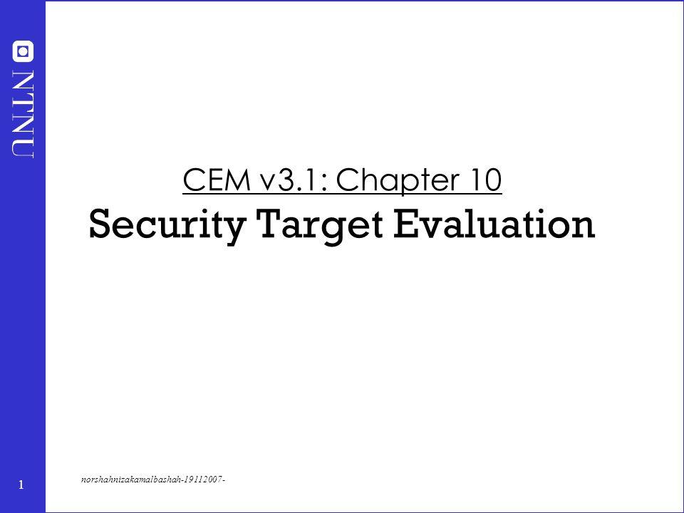 1 norshahnizakamalbashah-19112007- CEM v3.1: Chapter 10 Security Target Evaluation