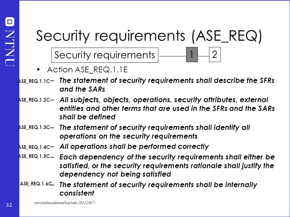 32 norshahnizakamalbashah-19112007- Action ASE_REQ.1.1E – The statement of security requirements shall describe the SFRs and the SARs – All subjects, objects, operations, security attributes, external entities and other terms that are used in the SFRs and the SARs shall be defined – The statement of security requirements shall identify all operations on the security requirements – All operations shall be performed correctly – Each dependency of the security requirements shall either be satisfied, or the security requirements rationale shall justify the dependency not being satisfied – The statement of security requirements shall be internally consistent Security requirements (ASE_REQ) ASE_REQ.1.1C ASE_REQ.1.3C ASE_REQ.1.4C ASE_REQ.1.5C ASE_REQ.1.6C ASE_REQ.1.2C Security requirements 12
