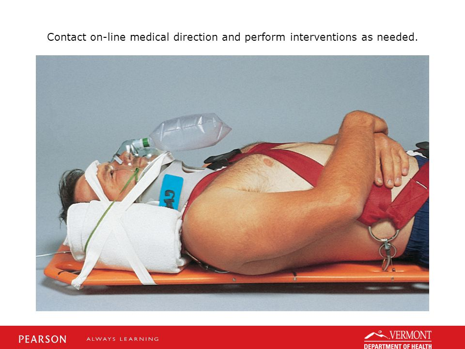 Contact on-line medical direction and perform interventions as needed.