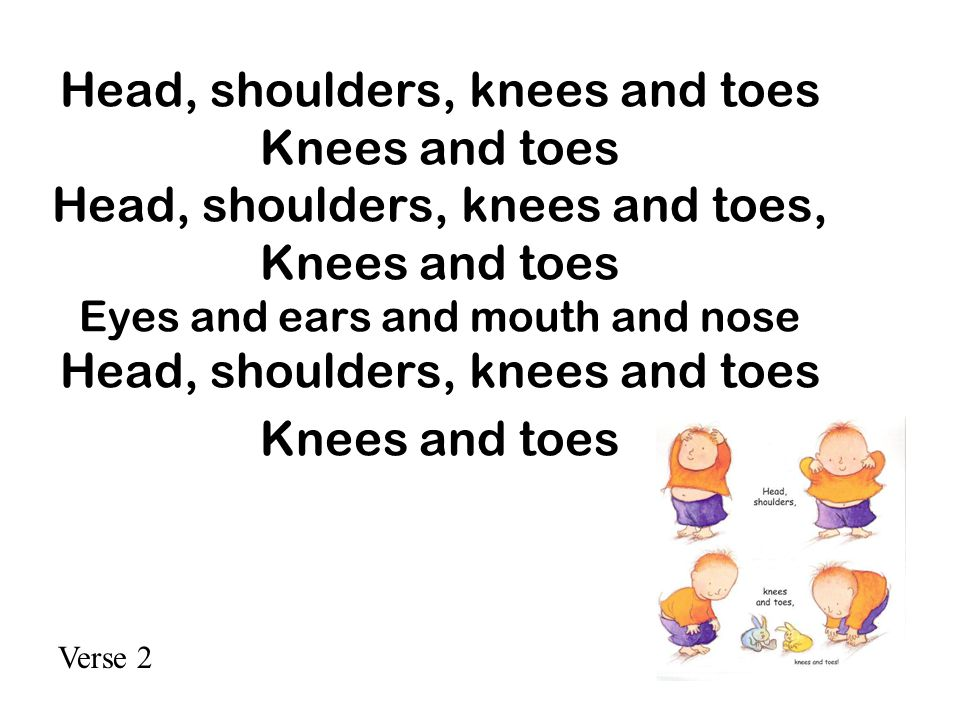 Head, shoulders, knees and toes Knees and toes Head, shoulders, knees and toes, Knees and toes Eyes and ears and mouth and nose Head, shoulders, knees and toes Knees and toes Verse 2