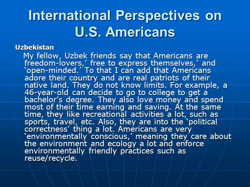 International Perspectives on U.S.