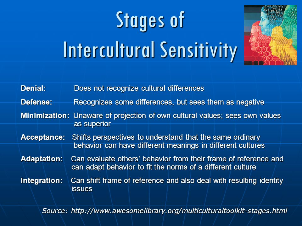 Stages of Intercultural Sensitivity Denial: Does not recognize cultural differences Defense: Recognizes some differences, but sees them as negative Minimization: Unaware of projection of own cultural values; sees own values as superior Acceptance: Shifts perspectives to understand that the same ordinary behavior can have different meanings in different cultures Adaptation: Can evaluate others' behavior from their frame of reference and can adapt behavior to fit the norms of a different culture Integration: Can shift frame of reference and also deal with resulting identity issues Source: http://www.awesomelibrary.org/multiculturaltoolkit-stages.html Source: http://www.awesomelibrary.org/multiculturaltoolkit-stages.html