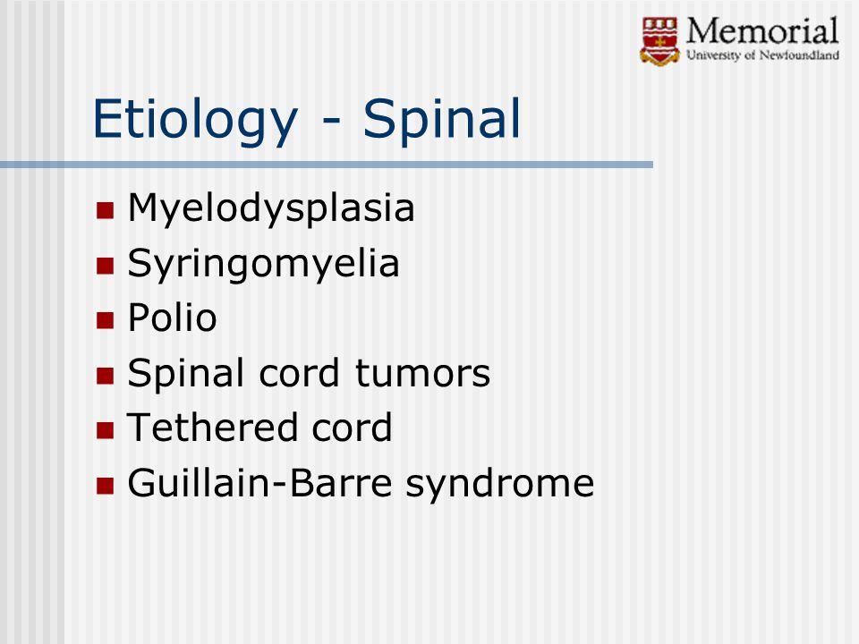 Etiology - Spinal Myelodysplasia Syringomyelia Polio Spinal cord tumors Tethered cord Guillain-Barre syndrome