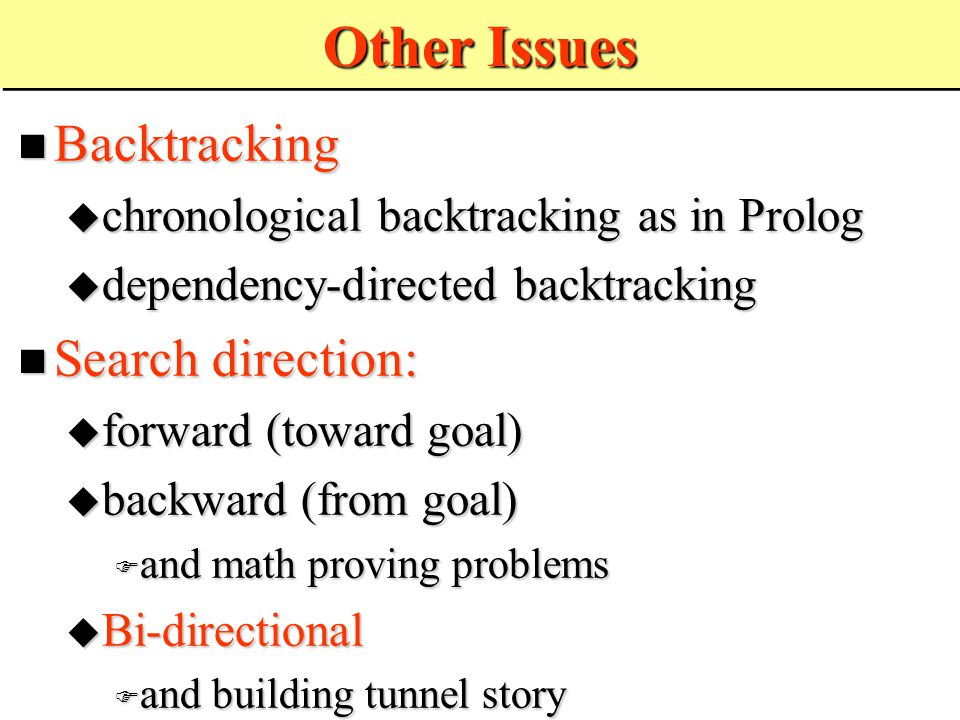 Other Issues Backtracking Backtracking  chronological backtracking as in Prolog  dependency-directed backtracking Search direction: Search direction:  forward (toward goal)  backward (from goal)  and math proving problems  Bi-directional  and building tunnel story