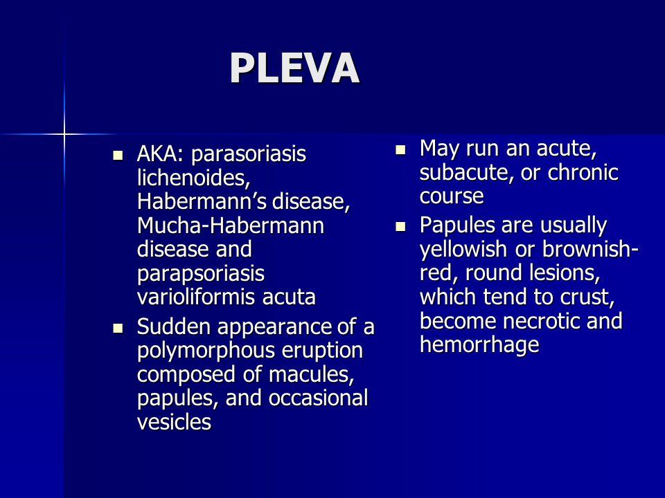 PLEVA AKA: parasoriasis lichenoides, Habermann's disease, Mucha-Habermann disease and parapsoriasis varioliformis acuta AKA: parasoriasis lichenoides,