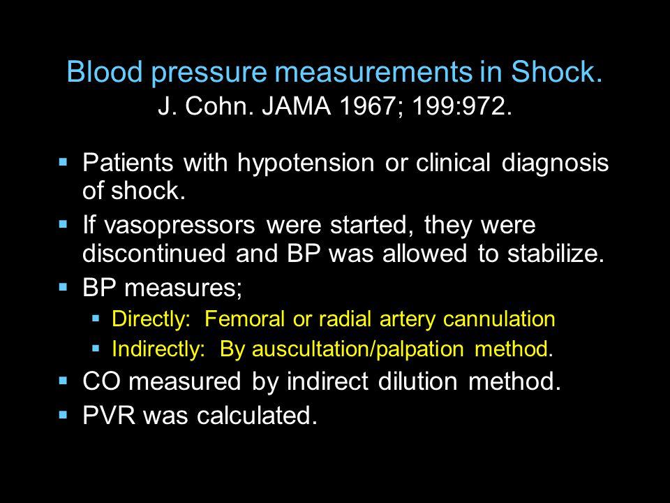 Blood pressure measurements in Shock. J. Cohn. JAMA 1967; 199:972.