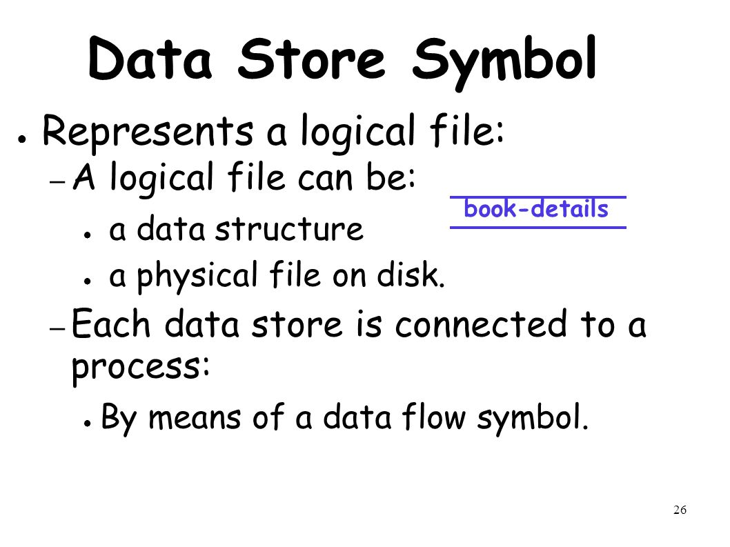 26 Data Store Symbol ● Represents a logical file: – A logical file can be: ● a data structure ● a physical file on disk.