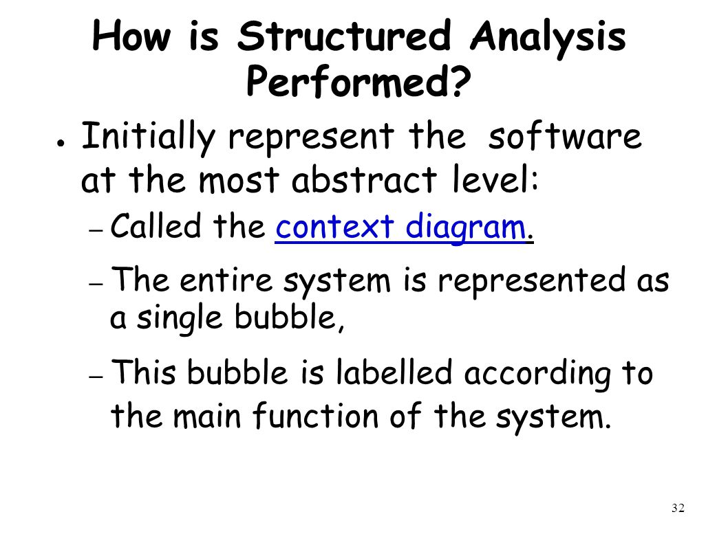 32 How is Structured Analysis Performed.