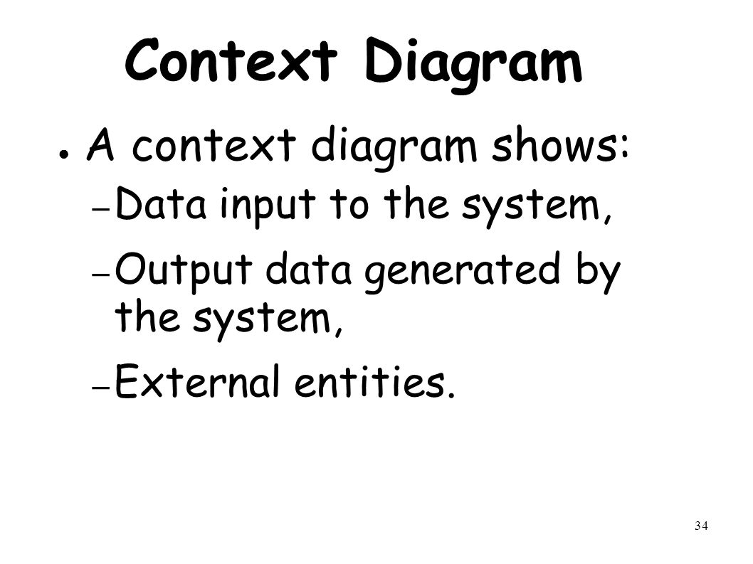 34 Context Diagram ● A context diagram shows: – Data input to the system, – Output data generated by the system, – External entities.