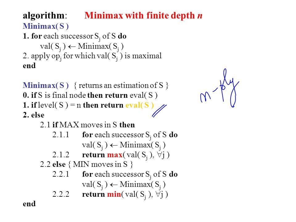algorithm: Minimax with finite depth n Minimax( S ) 1.