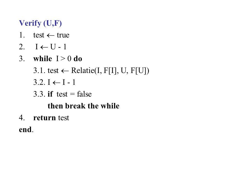 Verify (U,F) 1.test  true 2. I  U - 1 3.while I > 0 do 3.1.