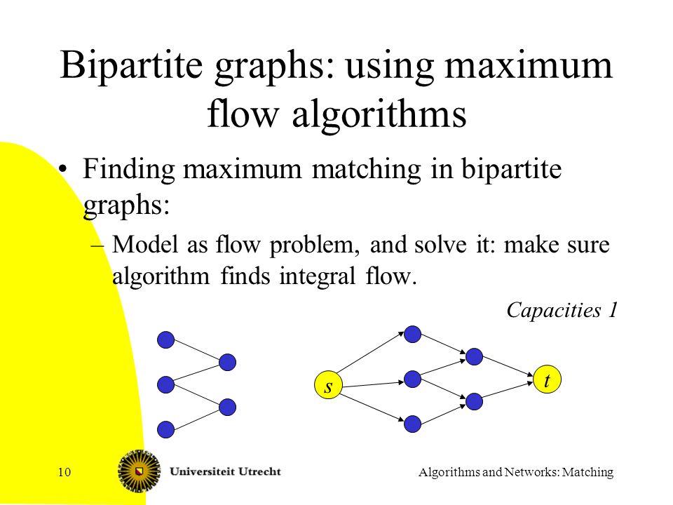 Algorithms and Networks: Matching10 Bipartite graphs: using maximum flow algorithms Finding maximum matching in bipartite graphs: –Model as flow probl