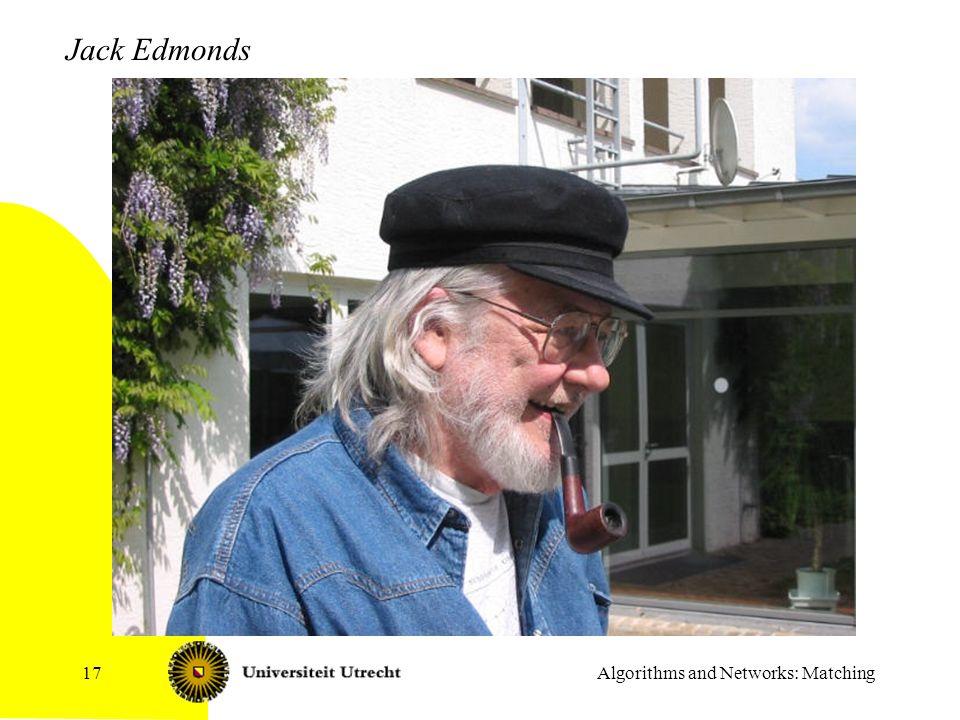 Algorithms and Networks: Matching17 Jack Edmonds