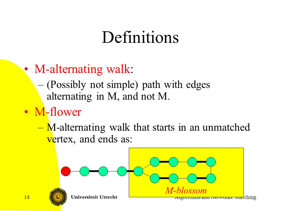 Algorithms and Networks: Matching18 M-blossom Definitions M-alternating walk: –(Possibly not simple) path with edges alternating in M, and not M. M-fl