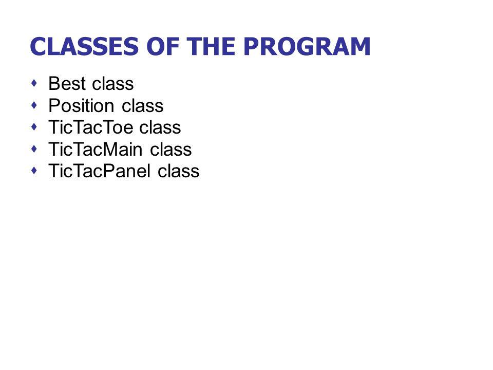 CLASSES OF THE PROGRAM  Best class  Position class  TicTacToe class  TicTacMain class  TicTacPanel class