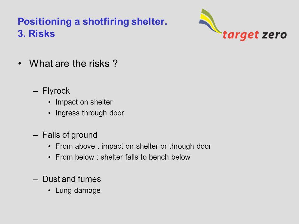 Positioning a shotfiring shelter.2.
