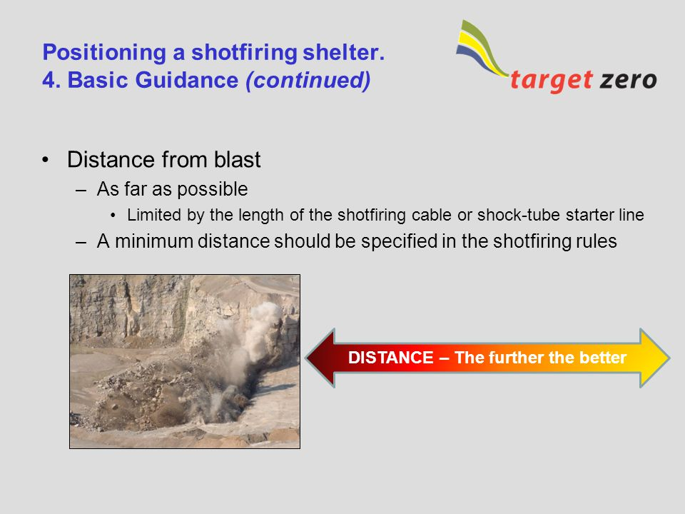 Positioning a shotfiring shelter. 3. Risks What are the risks ? –Flyrock Impact on shelter Ingress through door –Falls of ground From above : impact o