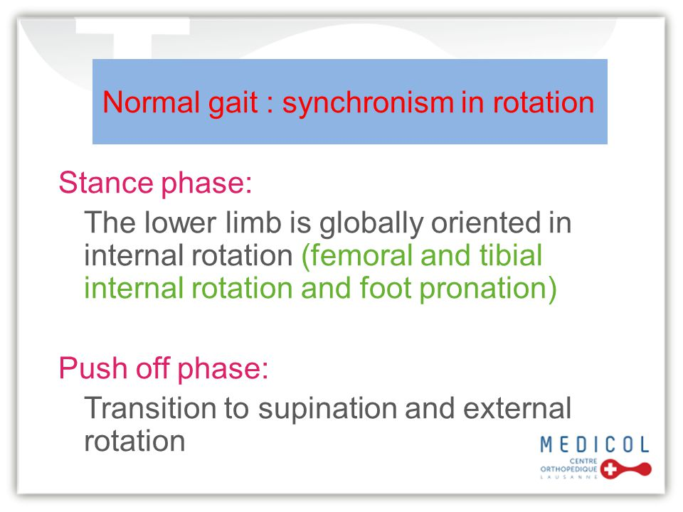 Normal gait : synchronism in rotation Stance phase: The lower limb is globally oriented in internal rotation (femoral and tibial internal rotation and