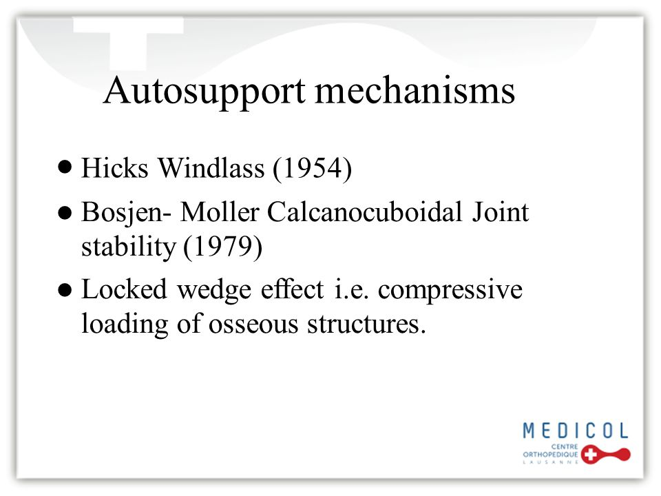 1 st MTP Joint ROM and Self Stabilization In 1954 in the Journal of Anatomy, JH Hicks published a series of papers collectively called the Mechanics of the Foot, I-IV Within these, the Windlass Concept was introduced Hallux dorsiflexion causes an unstoppable arch raising with simultaneous lower leg external rotation