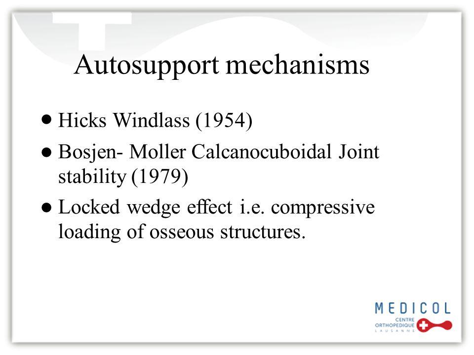 Autosupport mechanisms Hicks Windlass (1954) Bosjen- Moller Calcanocuboidal Joint stability (1979) Locked wedge effect i.e. compressive loading of oss