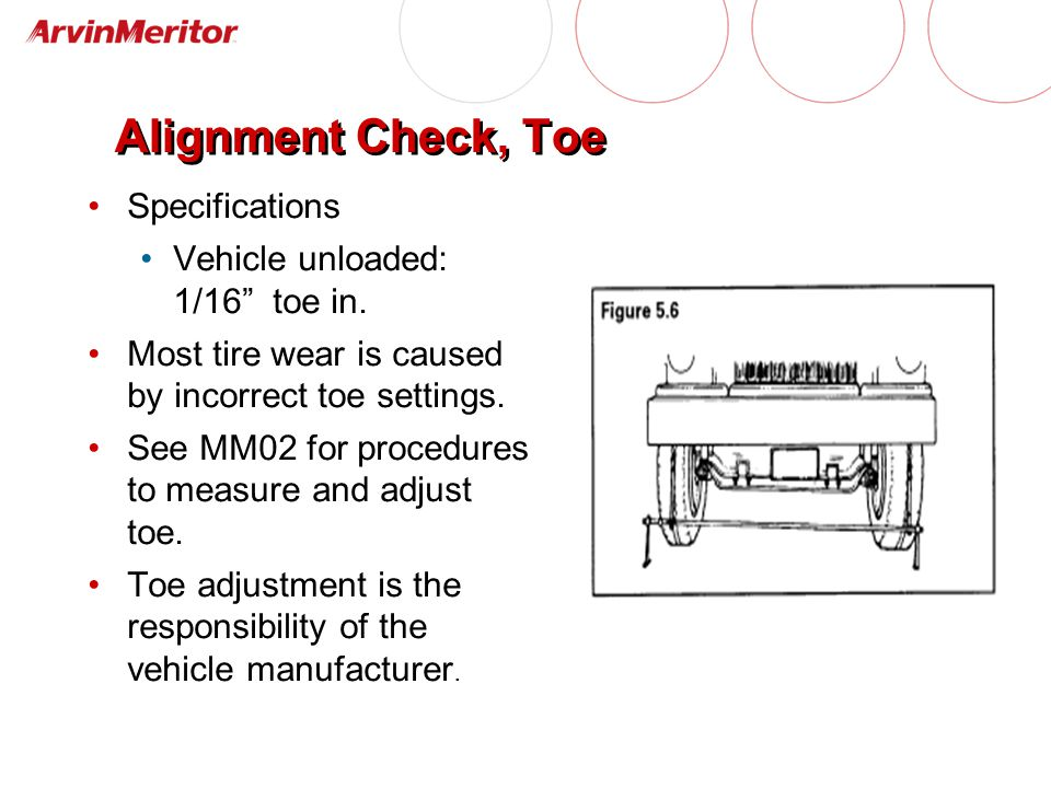 Specifications Vehicle unloaded: 1/16 toe in.Most tire wear is caused by incorrect toe settings.