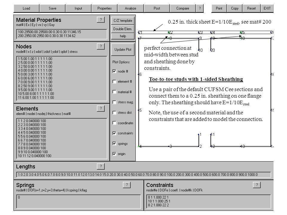 explicit sheathing modeling 0.25 in.