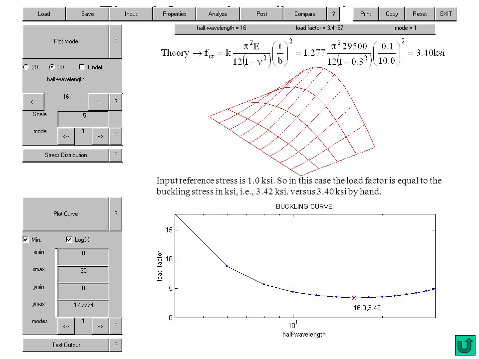 Fixed-free plate (boundary conditions) Input reference stress is 1.0 ksi. So in this case the load factor is equal to the buckling stress in ksi, i.e.